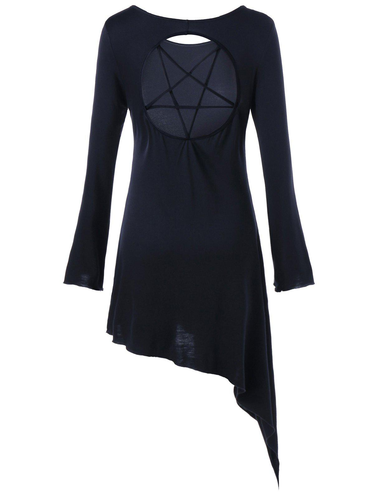 Star Cut Out Long Sleeve Asymmetric Dress - BLACK XL