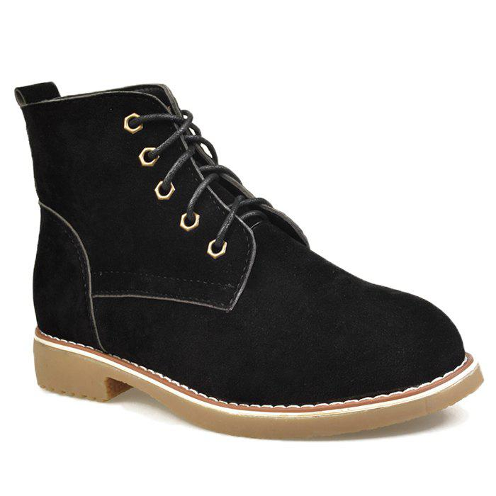 Ankle Faux Suede Lace Up Boots - BLACK 39