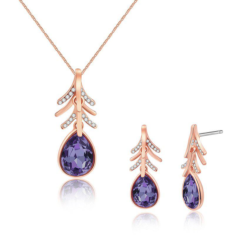 Faux Crystal Teardrop Earring and Necklace Set - ROSE GOLD