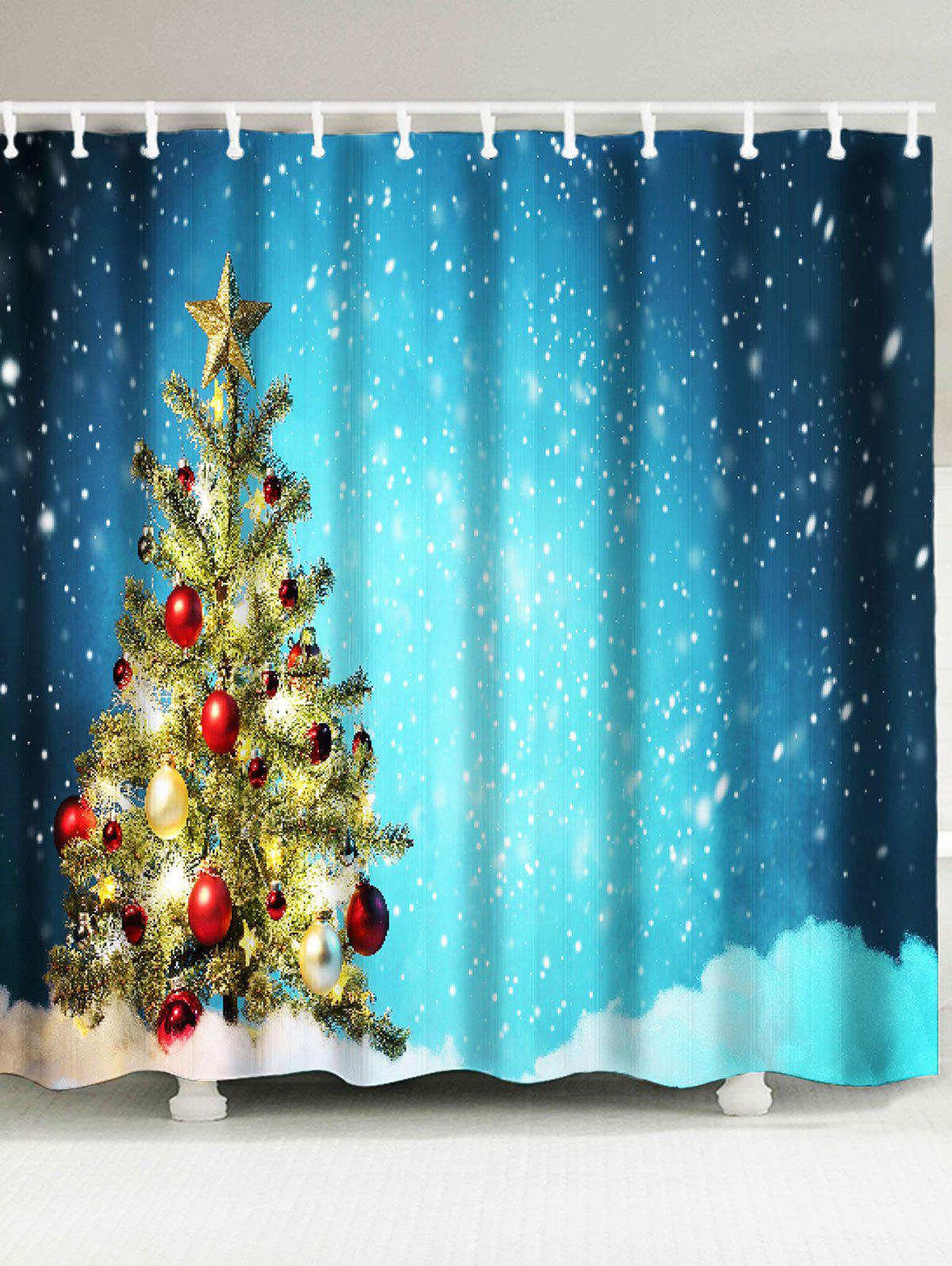 2018 snow covering christmas tree patterned shower curtain colorful w inch l inch in shower. Black Bedroom Furniture Sets. Home Design Ideas