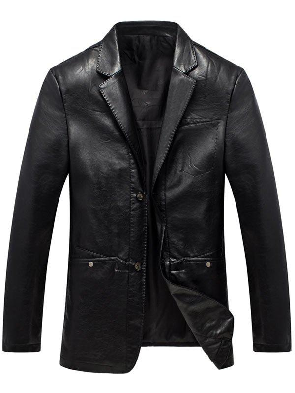 Lapel Single Breasted Faux Leather Blazer - BLACK 2XL