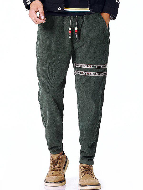 Tribal Stripe Drawstring Waist Corduroy Pants - ARMY GREEN XL
