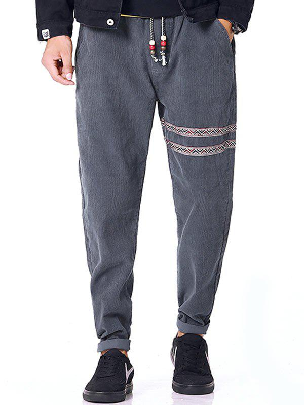 Tribal Stripe Drawstring Waist Corduroy Pants - GRAY XL