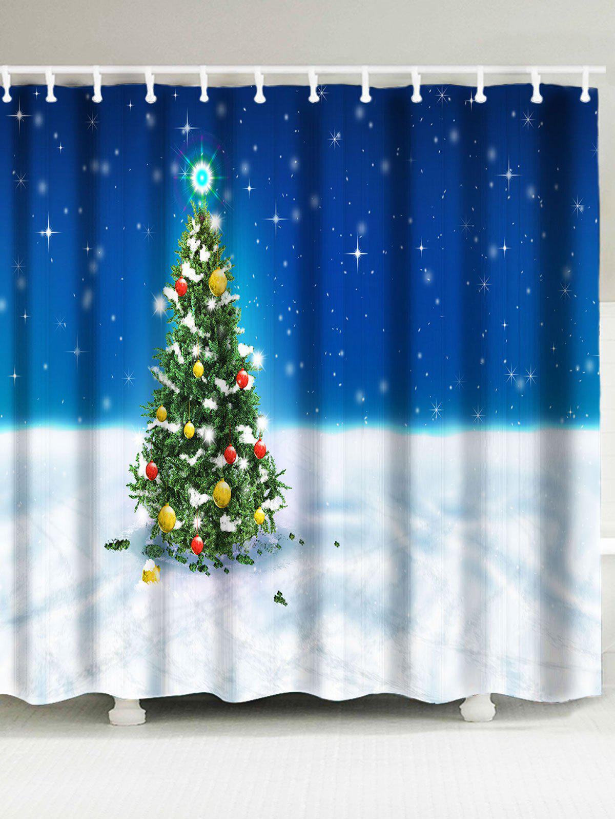 Christmas Tree Snowfield Patterned Bath Shower Curtain merry christmas printed bath waterproof shower curtain