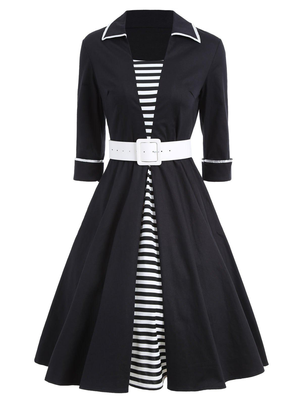 Vintage Striped Pin Up Skater Dress - BLACK 2XL