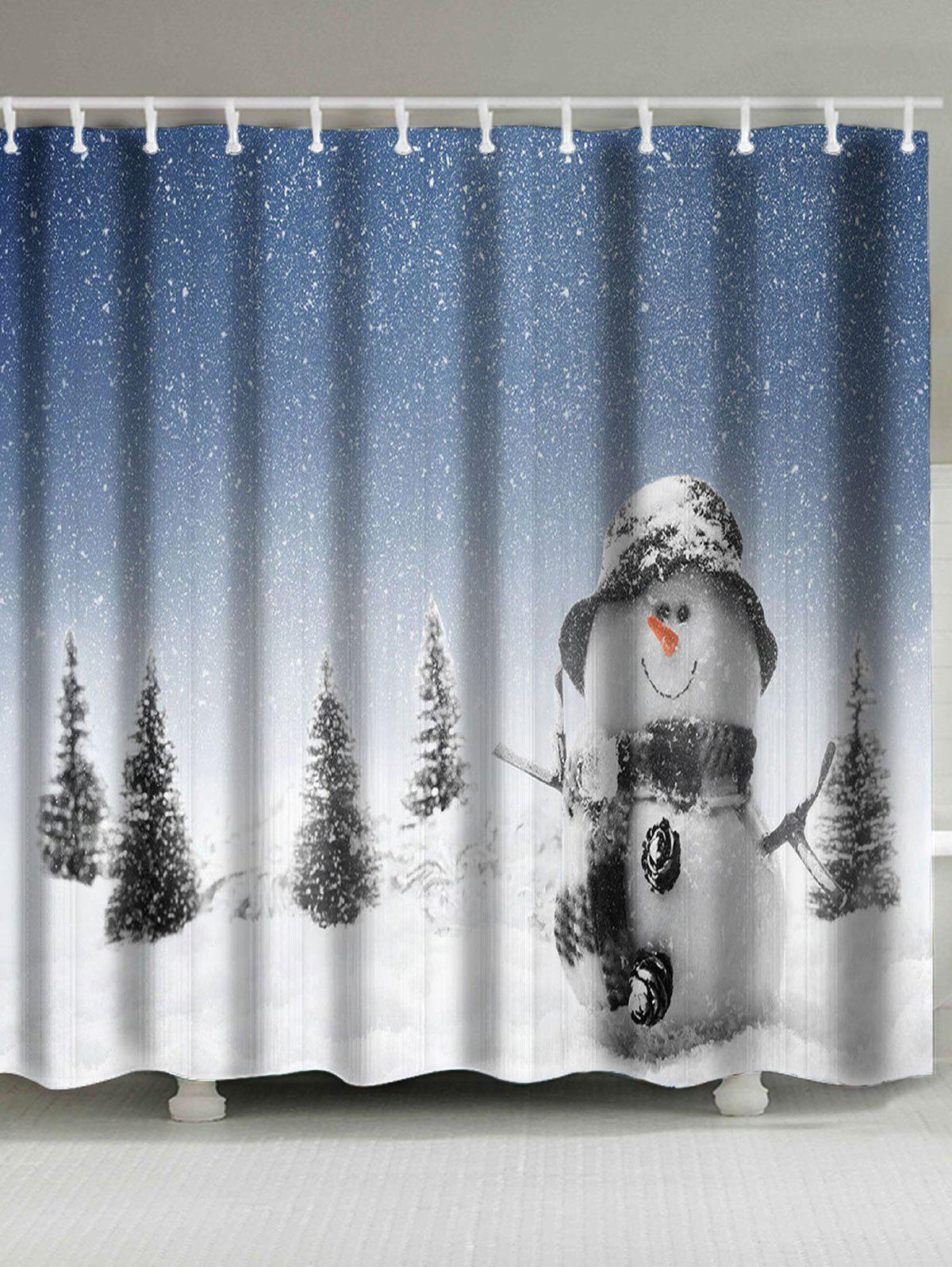 2018 Christmas Snowman Patterned Shower Bath Curtain White W Inch L Inch In Shower Curtains