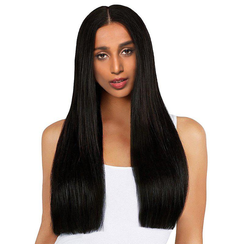 Middle Part Long One Length Straight Synthetic Wig - BLACK