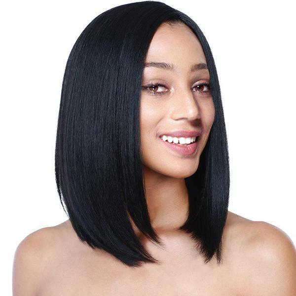 Center Parting Straight Short Bob Fiber Synthetic Wig - BLACK