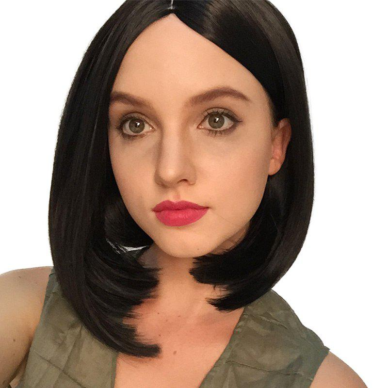 Middle Part Short Straight Bob Fiber Synthetic Wig - BLACK