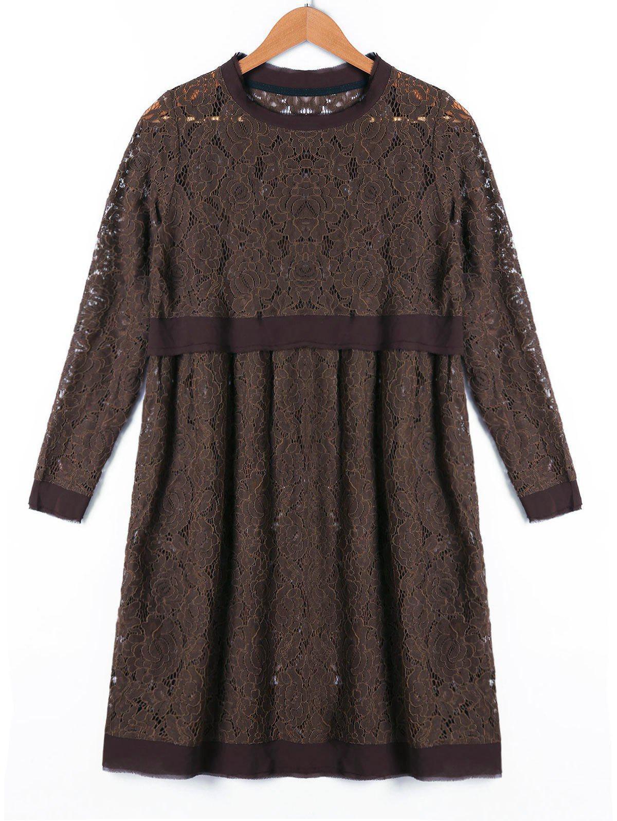 Long Sleeve Crew Neck Lace Dress - DUN XL