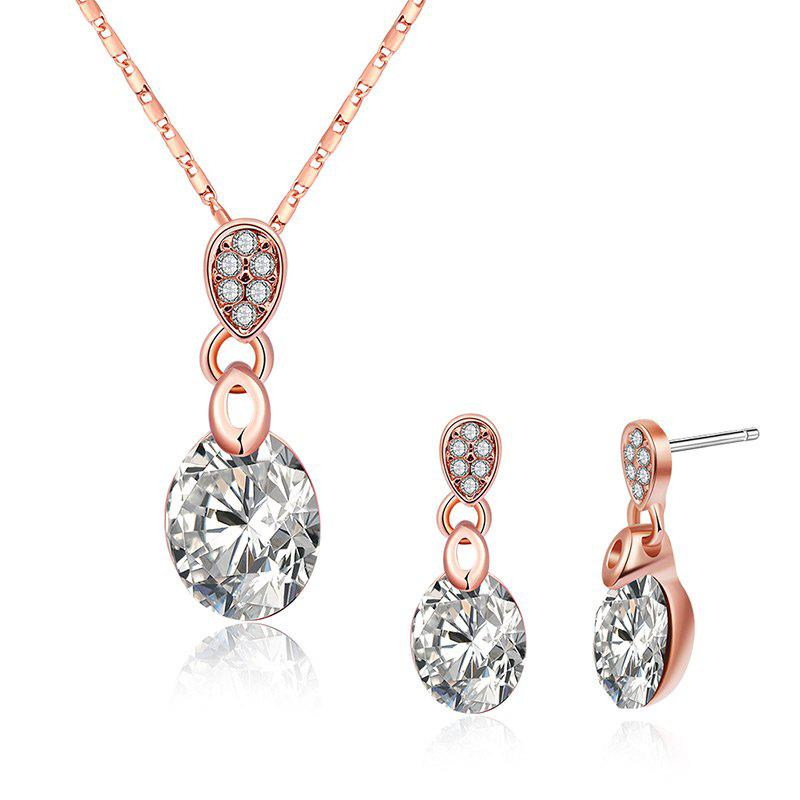 Rhinestone Necklace with Earring Set - WHITE
