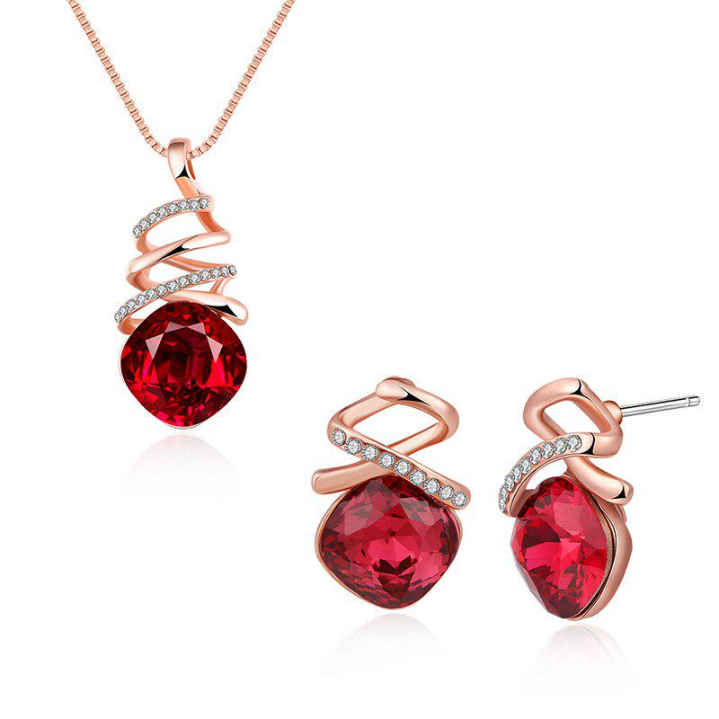 Fake Crystal Rhinestone Charm Jewelry Set - RED