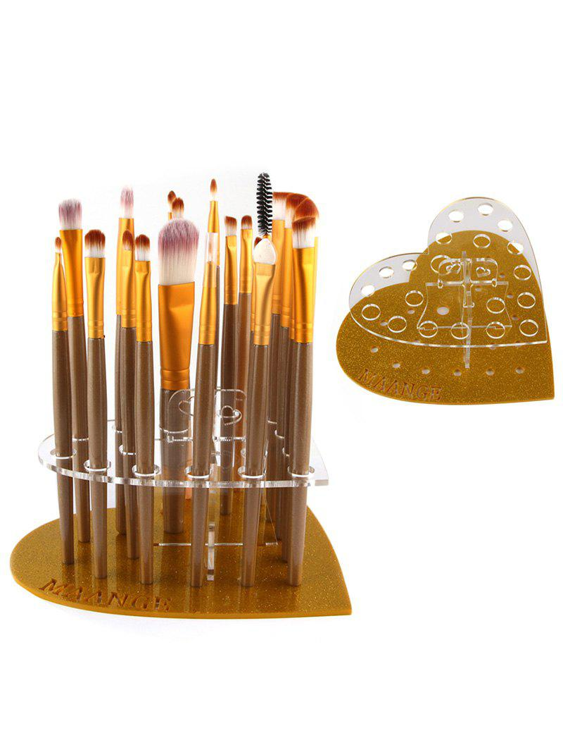 Makeup Brush Set Heart Shape Holder - GOLDEN