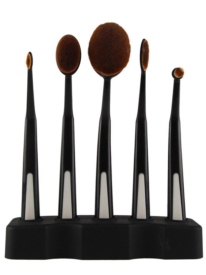 5 Pieces Toothbrush Shape Brushes with Holder - BLACK