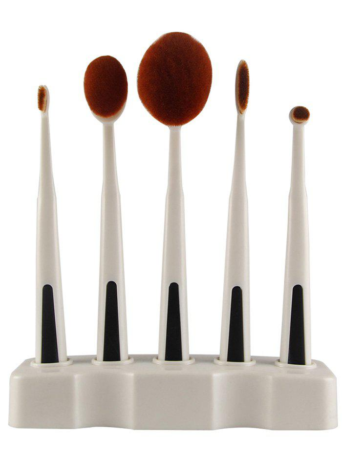 5 Pieces Toothbrush Shape Brushes with Holder - WHITE