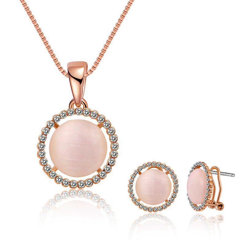 Faux Opal Rhinestoned Round Jewelry Set - Rose d'Or