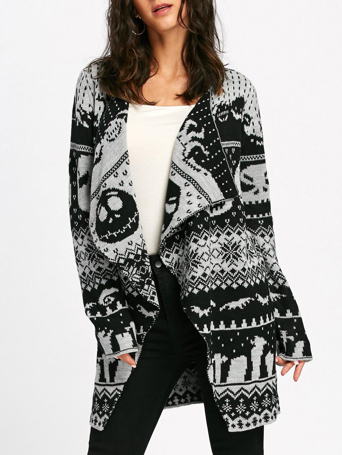 Halloween Skull Knitting Tunic Cardigan - LIGHT GRAY M