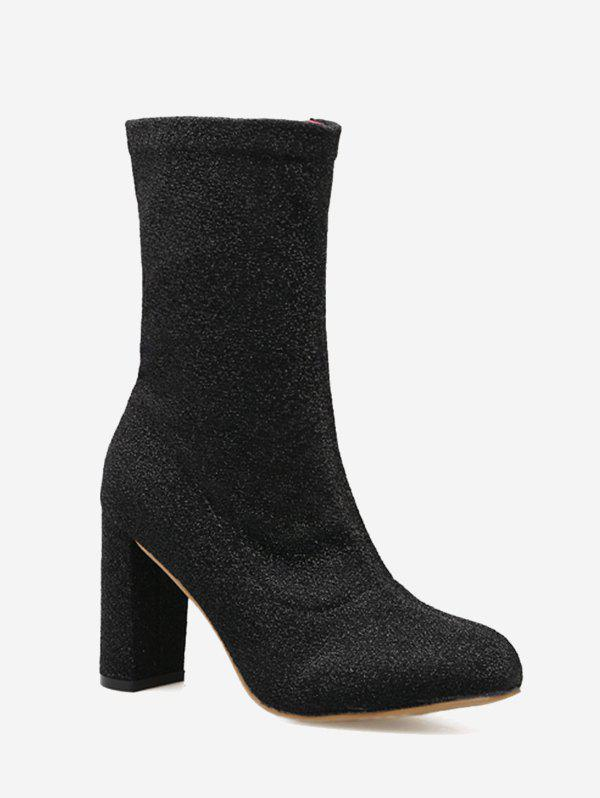 Chunky Heel Zip Pointed Toe Boots - BLACK 40