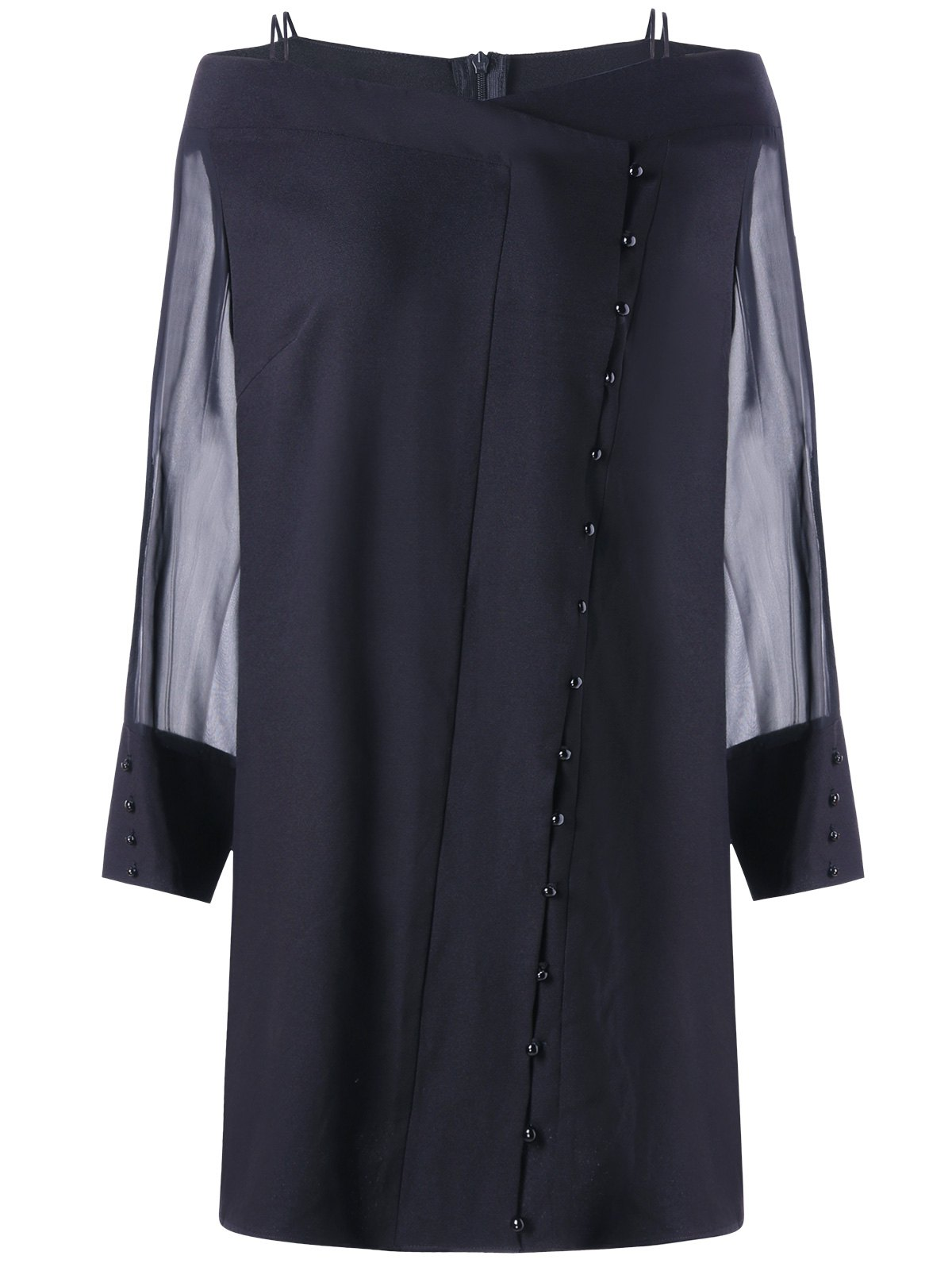 Sheer Long Sleeve Button Plus Size Dress - BLACK XL