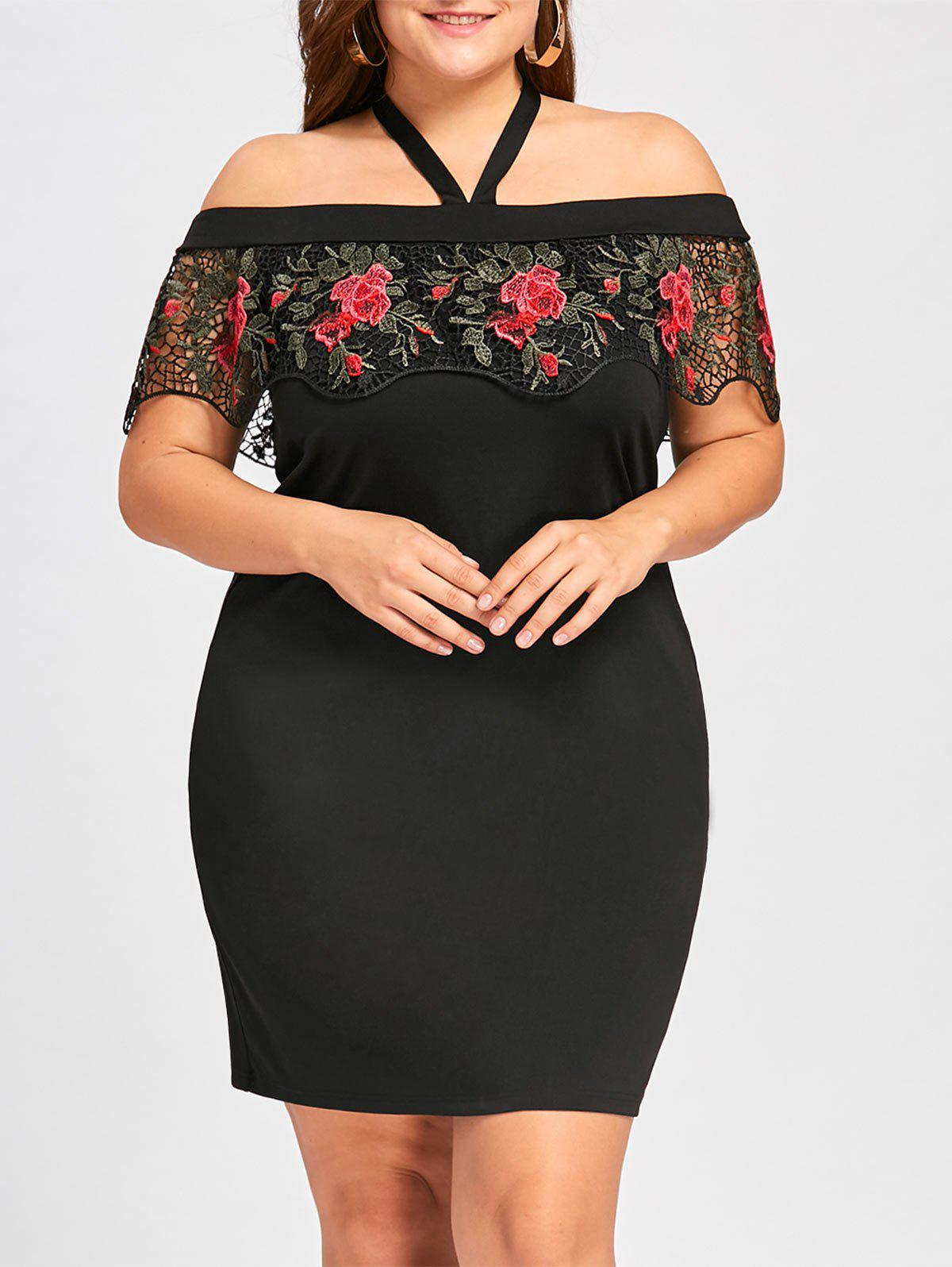 Plus Size Halter Neck Lace Capelet Dress - BLACK 4XL