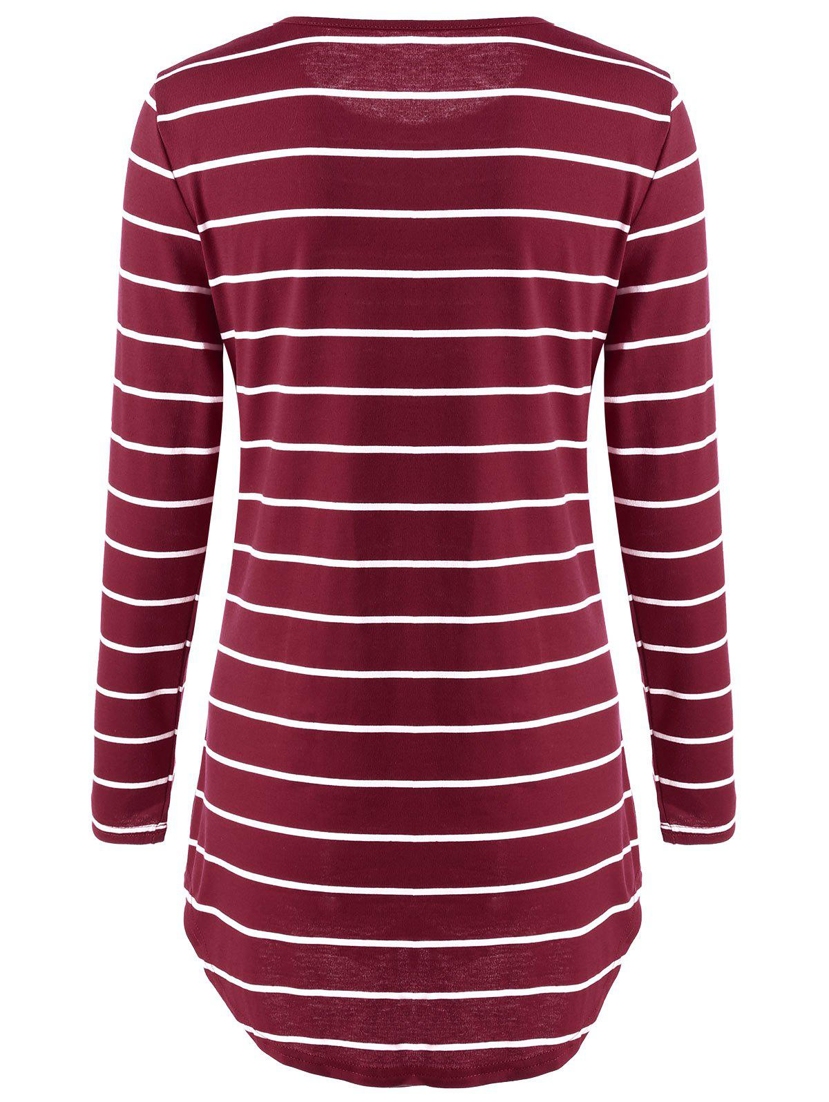Pocket Striped Tunic Mini T-shirt Dress - RED XL