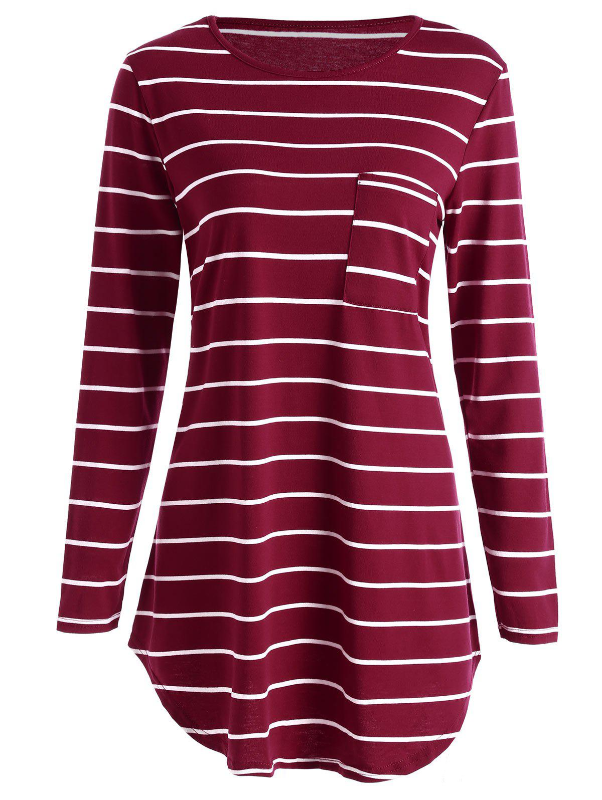 Pocket Striped Tunic Mini T-shirt Dress - RED L