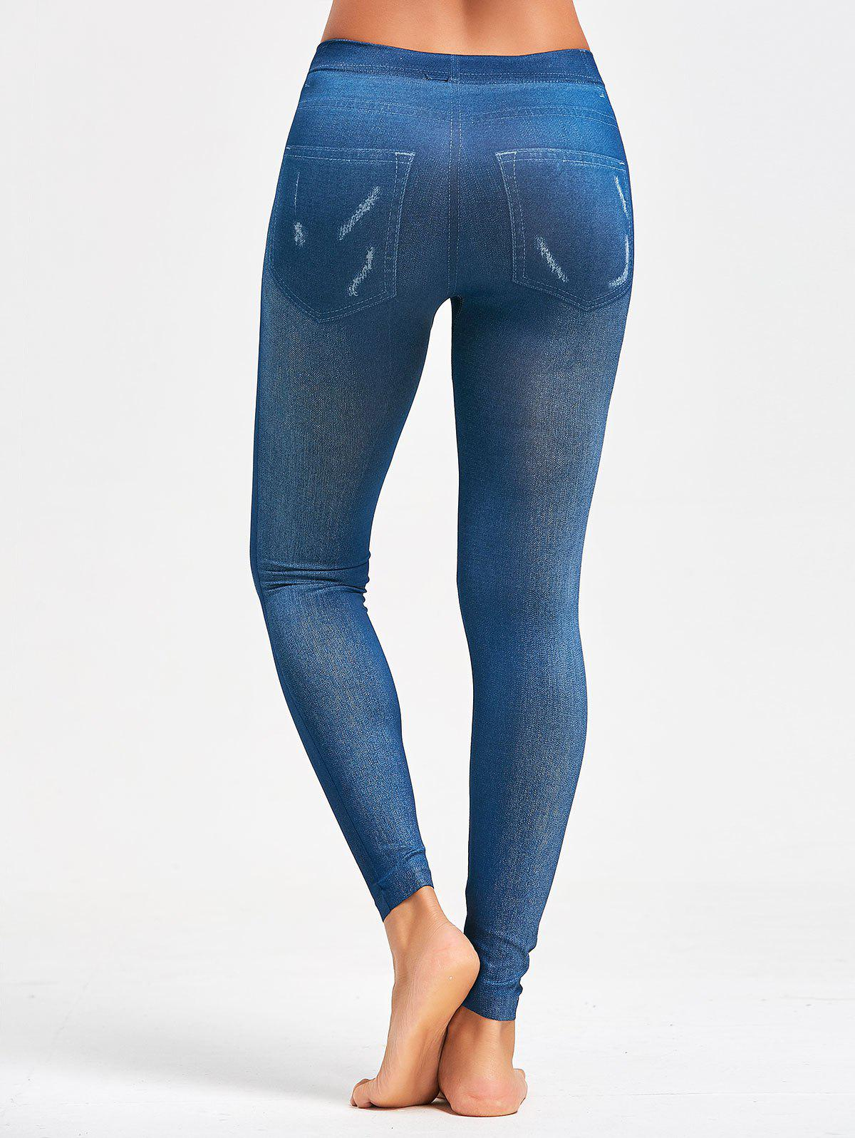 Faux Faded Jeggings - BLUE ONE SIZE