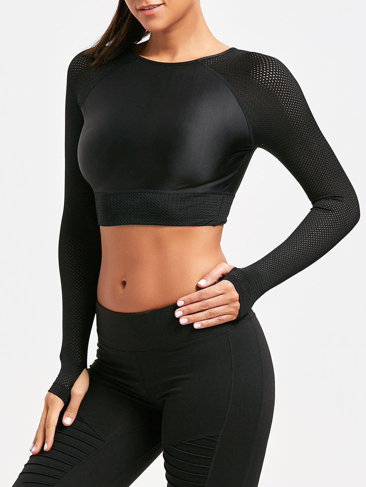 Mesh Insert Long Sleeve Crop Tee shirt - BLACK L