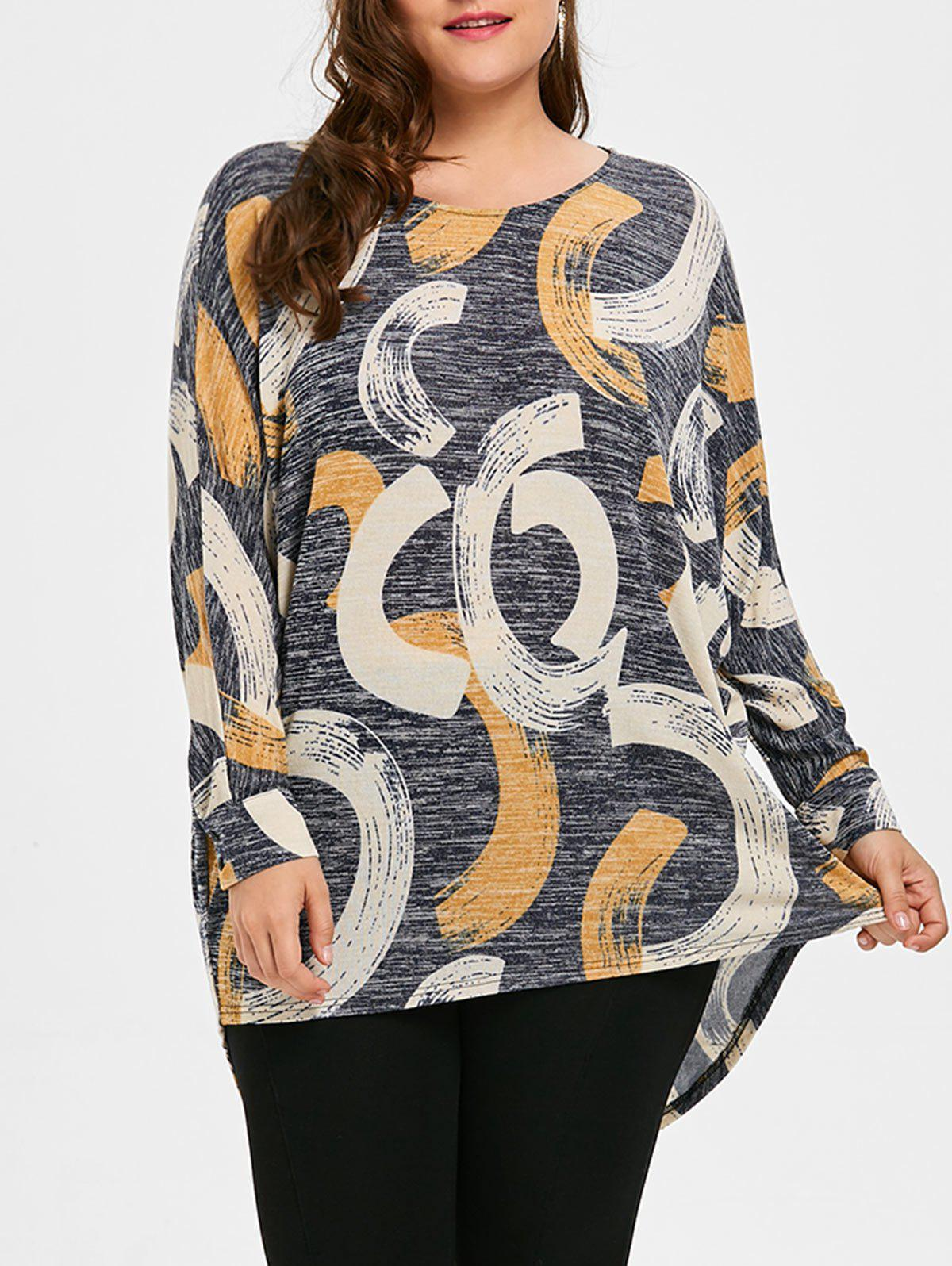 Print Plus Size High Low Top - GRAY 2XL