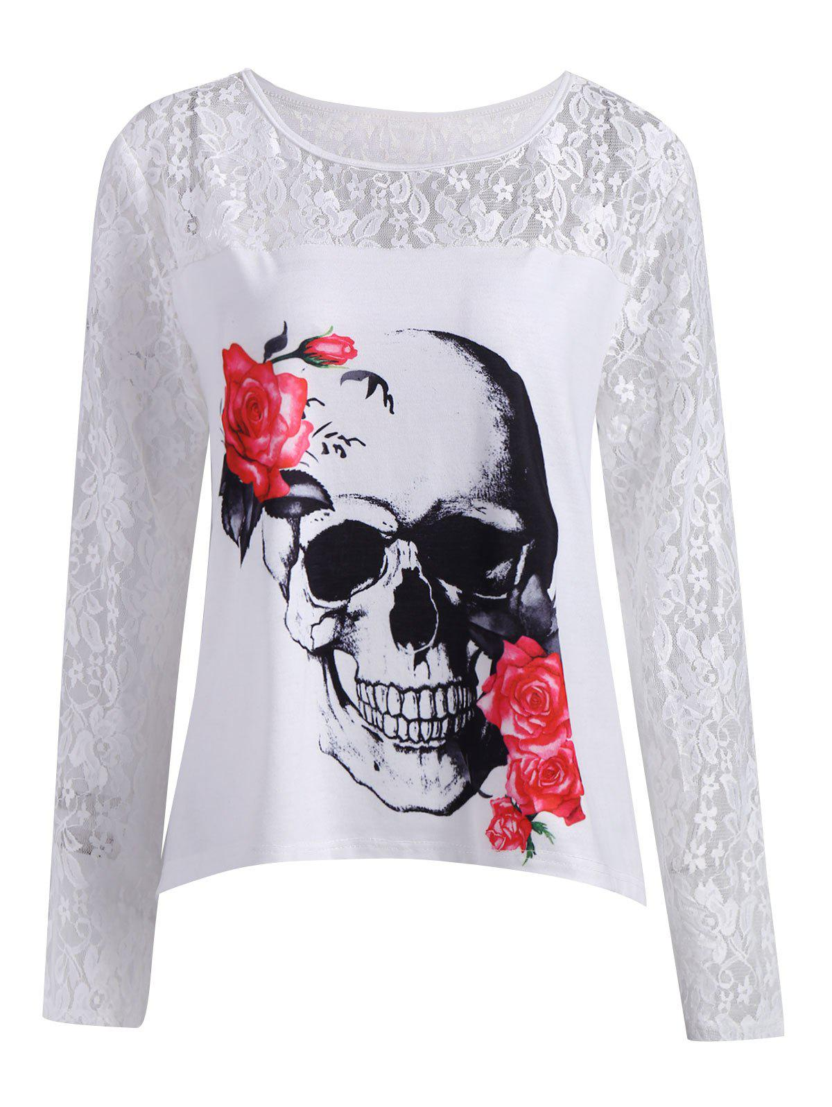 Plus Size Lace Panel Halloween Skull T-shirt up air upair chase 5 8g fpv 12mp rc quadcopter