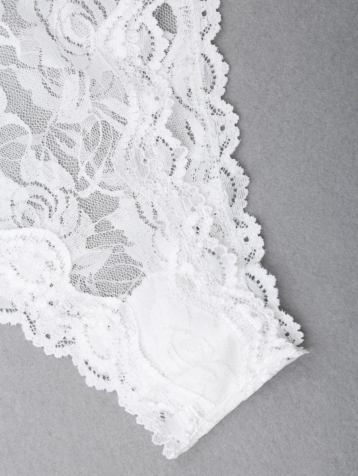 See Through Cami Lace Teddy - WHITE M