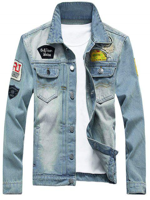 Chest Pocket Patched Distressed Denim Jacket - LIGHT BLUE 4XL