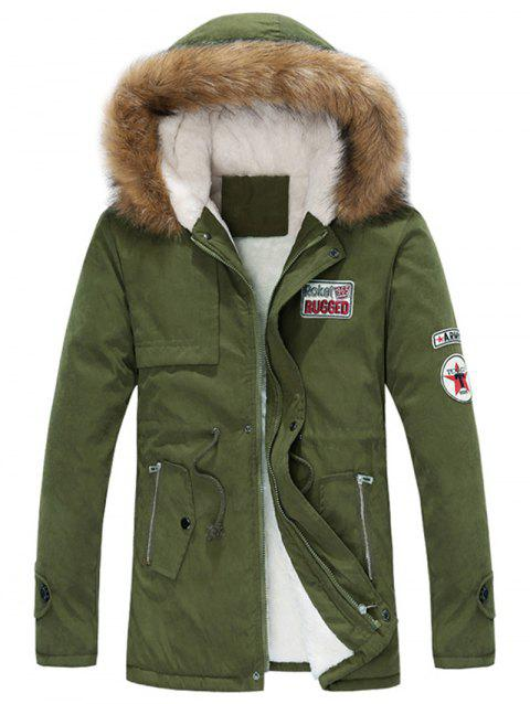 Appliques Faux Fur Collar Drawstring Fleece Coat - ARMY GREEN L