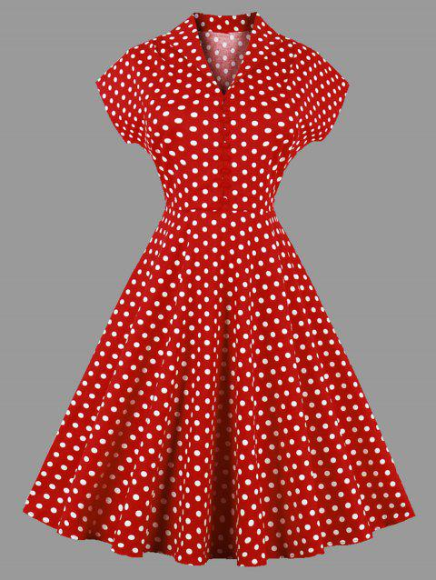 c323e57ee7d0 17% OFF  2019 Plus Size Polka Dot Batwing Sleeve Dress In RED 4XL ...