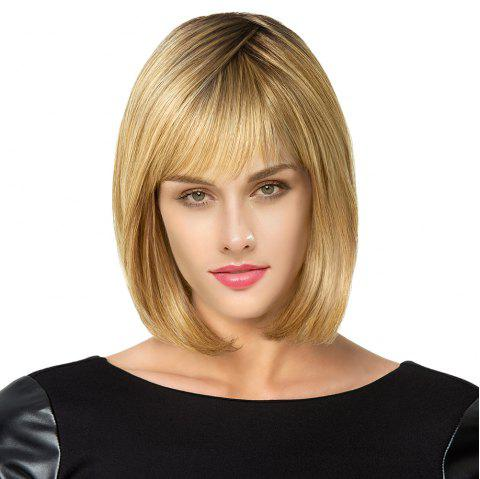 Short See Through Fringe Straight Bob Colormix Human Hair Wig - COLORMIX