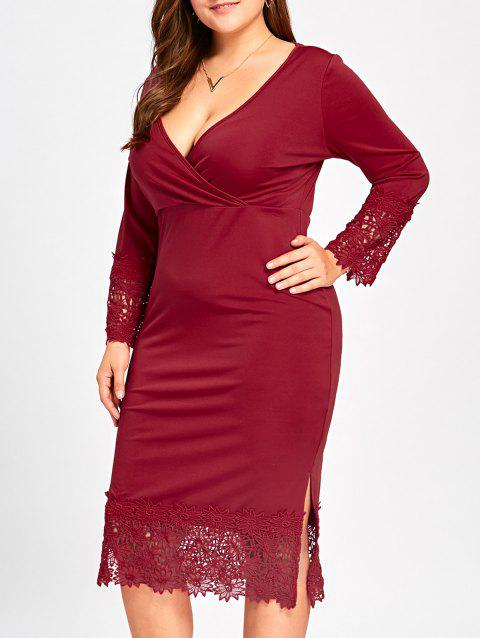 3fe63af96ca8 17% OFF  2019 Lace Trim Plus Size Midi Surplice Dress In WINE RED XL ...