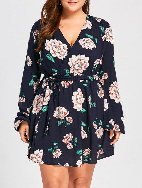 62f07d9b1a8e 41% OFF] 2019 Plus Size Long Sleeve Floral Surplice Dress In BLACK ...