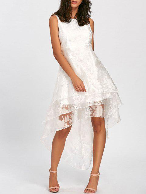 High Low Party Prom Tiered Tulle Dress - WHITE M