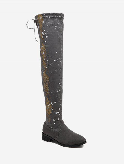 Print Round Toe Chunky Heel Thigh High Boots - GRAY 40