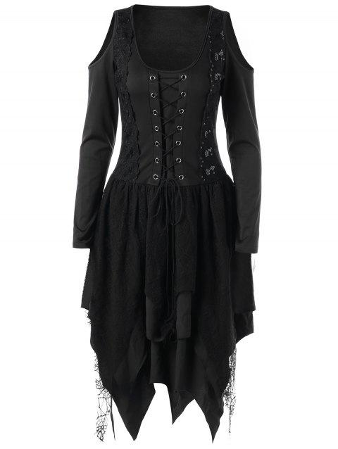 Halloween Lace Up Layered Handkerchief Dress - BLACK 2XL
