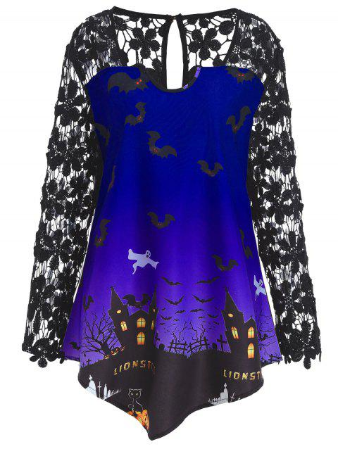 Plus Size Halloween Lace Panel Asymmetrical T-shirt - BLUE XL