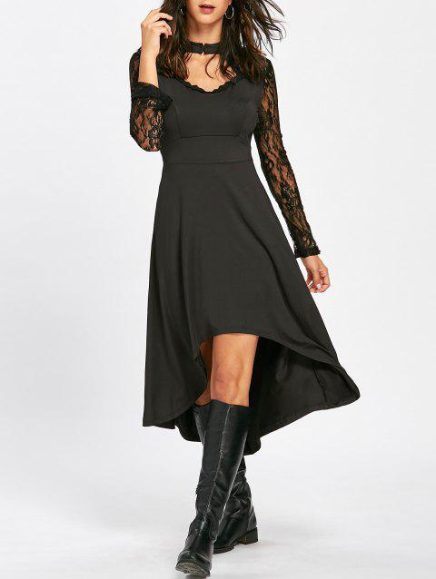 Mock Neck High Low Dress with Lace - BLACK L