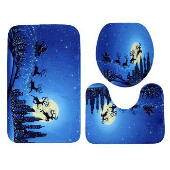 Ensemble matelas de toilette 3Pcs Christmas Sled Moon Bath - Bleu