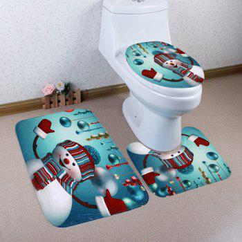 christmas baubles snowman pattern 3 pcs bathroom toilet mat