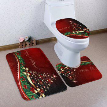 Merry Christmas Star Pattern 3 Pcs Bathroom Toilet Mat