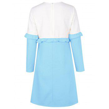 Flounce Two Tone Shift Dress - LIGHT BLUE M