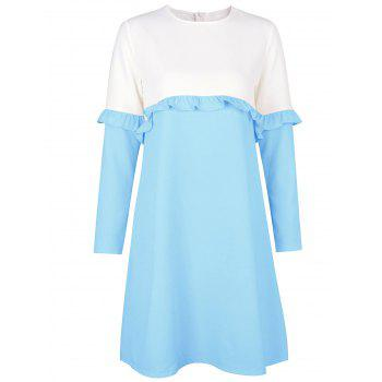 Flounce Two Tone Shift Dress - LIGHT BLUE S