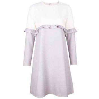 Flounce Two Tone Shift Dress - GRAY L