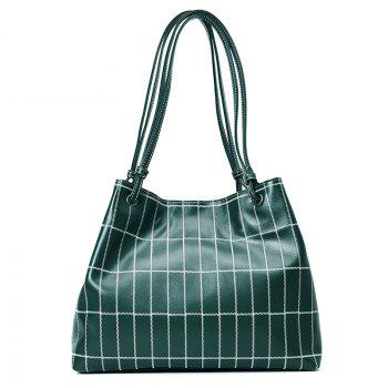 Plaid Faux Leather Stitching Shoulder Bag - GREEN GREEN