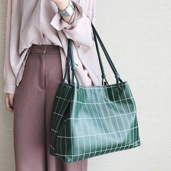 Plaid Faux Leather Stitching Shoulder Bag -  GREEN